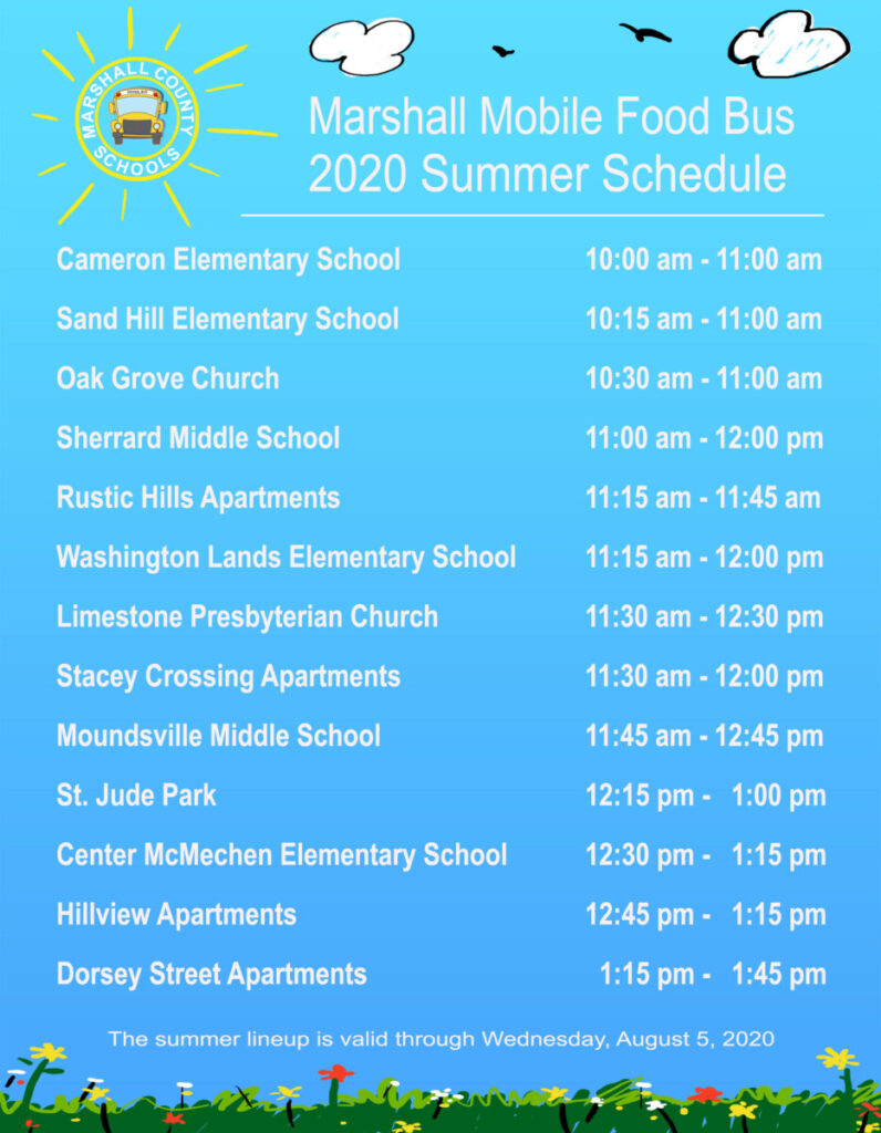 list of Marshall Mobile Food Bus locations and times. To have a list read to you, please call call Child Nutrition Director Debbie Derico at 304-843-4400 extension 346.